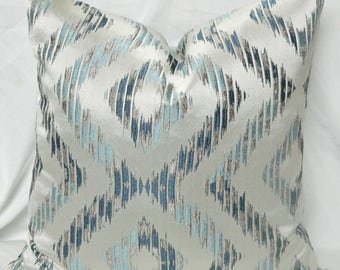 Silver Gray Blue Ikat Chevron Decorative Throw Pillow Cover with Designer Fabric /Both Sided