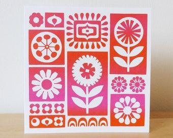 Scandinavian Flower Card Retro Flower Card Retro Birthday Card Mid Century Birthday Card Screenprint