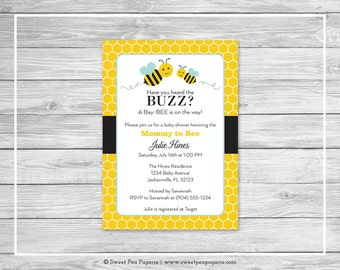 Bumble Bee Baby Shower Invitation - Printable Baby Shower Invitation - Bumble Bee Baby Shower - Baby Shower Invitations - Bee Shower - SP138