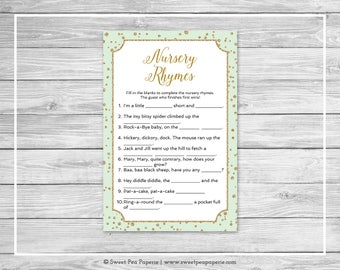 Mint and Gold Baby Shower Nursery Rhyme Game - Printable Baby Shower Nursery Rhyme Game - Mint and Gold Confetti Baby Shower - SP147