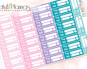 Pay Bill Planner Stickers Pinks-Purple-Teals, Bill Due Stickers Perfect for Erin Condren Planner, Life Planner, Plum Planner