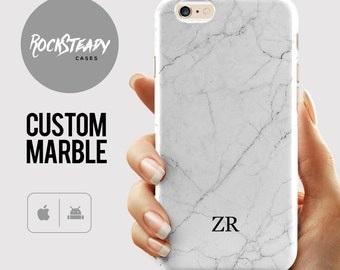 Monogram White Marble iPhone 7 case, personalised iPhone 6s, 6 Plus, 5C, 5S, SE, personalized Samsung Galaxy S8, S6, S7, S5 UK