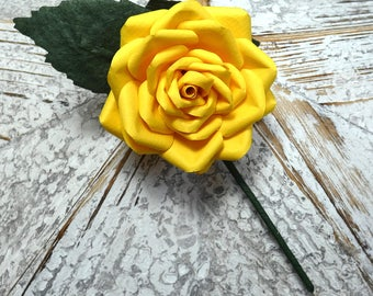 Yellow Buttonhole Boutonnière Yellow Groom Groomsmen Best Man Wedding Flowers - other colour/paper options & matching bouquet available