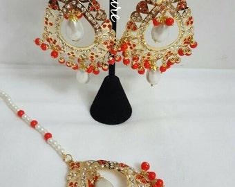 CLEARANCE Designer Bollywood Red Jadau Earring Tikka Set Indian Jewelry Jadau Jewelry Traditional Indian Jewelry Red Earring Tikka Set