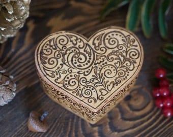 Small Heart Jewelry Ring Box - Handmade Birch Bark Box, Rustic Wedding Decor, Keepsake Box, Russian Art Gift