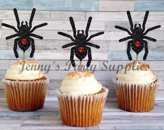 Set of 12 Glitter Spider Cupcake Toppers, Tarantula Cupcake Toppers, Black Widow Toppers, Critters Cupcake Toppers, Spiders Food Picks