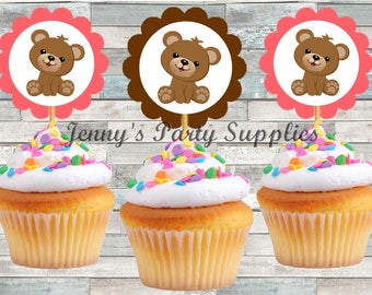 Set of 12 Pink Teddy Bear Cupcake Toppers, Brown Bear Cupcake Toppers, Baby Shower Bear Toppers, Pink Girl Bear Toppers