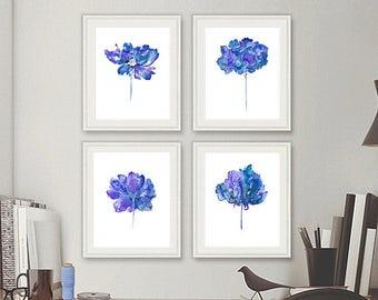 Blue flowers art print set, floral watercolor painting blue wall decor, blue prints, minimalist decor, set of 4 prints - N41/44