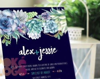 Cactus Wedding Invitation, Navy background, Succulent, Printable, Boho, Bohemian, Rustic, Watercolor digital, invite, spring, DIY