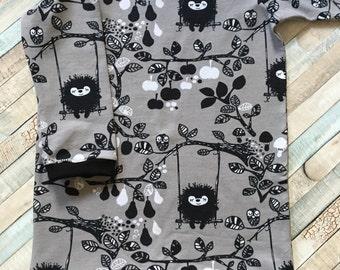 Size 3 to 4 years, Girls Tunic, Girls dresses, Girls clothing, Organic cotton fabric, Girls gift, Monochrome clothing, Scandi clothing