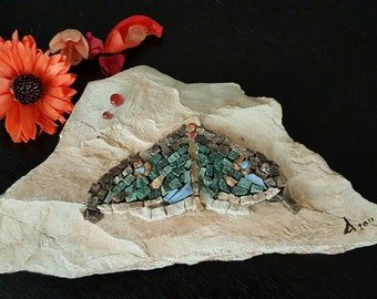 Mosaic Art, Beach Stone Pebble, Home Office Desk Art, Living Room Decor, Home Decor, Nocturne Butterfly, Paper Weight, Butterfly Art