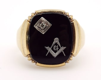 Mens 10k Yellow White Gold Masonic Onyx Diamond Ring Size 10