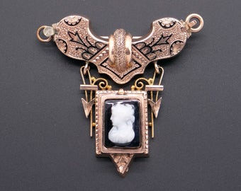 Victorian 14k Yellow Gold Carved Onyx Stone Cameo Brooch Pin Necklace Clasp