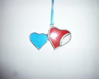 Stained Glass Heart Suncatcher.Double Heart. Pair Heart.