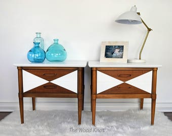 SOLD - Mid Century white nightstands, side tables – A Pair