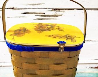 Handmade 60s Basket Purse Hand Painted One of a Kind