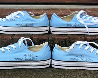 Custom Wedding Converse, Mr and Mrs, I do, Custom Converse, Hand Embroidered Wedding Converse, Bride and Groom Converse, wedding shoes