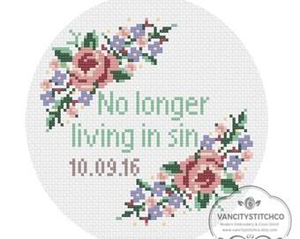 CROSS STITCH PATTERN- No longer living in sin, customizable wedding date