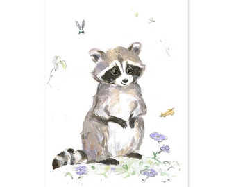 Racoon Nursery Print - Giclee - Woodland Animal Print - Woodland Nursery - Racoon Nursery Decor - Forest Animal -  Picture for Baby