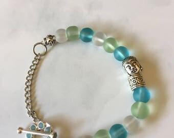 Sea glass beads bracelet, Buddha charm bracelet, Yoga jewelry