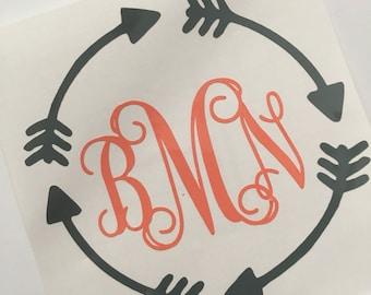 Circle arrows monogram decal