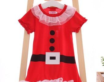 LOOK! CLEARANCED 6.00. SALE!Half Price ! Toddler-Girls Santa Claus Dress, girls Christmas red Santa dress, Toddlers Santa dress