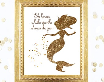 Mermaid Wall Art Printable - Sparkle Mermaid Birthday Gold Glitter Art Nursery Decor / Decor - Instant Printable Digital Download Girl