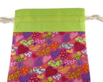 Project bag. Drawstring bag. Cotton and polycotton. Ribbon drawstring. pink. green. Hearts.