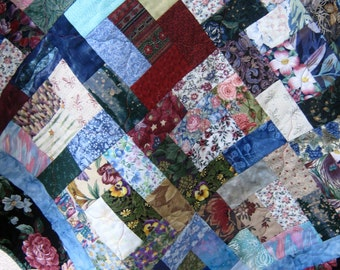 """Multi-Colored Scrap Quilt, Lap Size Quilt, Handmade Quilt With Cozy Flannel Back, Home Decor, 50"""" x 58"""""""