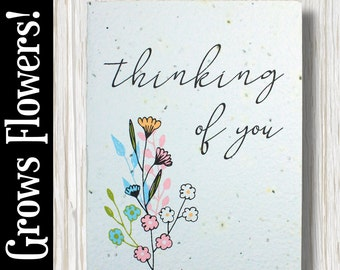 """GROWS WILDFLOWERS! - """"Thinking of you"""" - Plant the Card - 100% recycled - #FR019"""