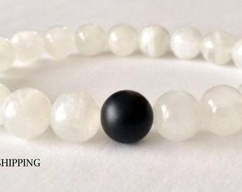 Moonstone Bracelet, Lokai Style Bracelet, Gemstone Bracelet, Beaded Bracelet, Bead Bracelet, Yoga Bracelet, Mala Beads, Mens, Men, Women's