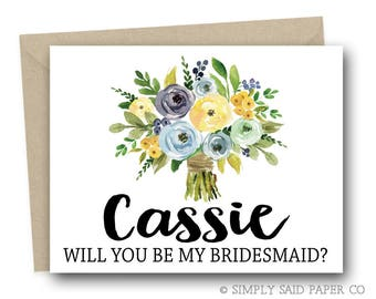 Personalized Wedding Party Card -  Personalized Ask Card, Custom Card, Custom Bridesmaid Card, Personalized Maid of Honor Card