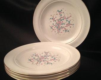 Eastern China N.Y. USA 22K/Vintage Eastern China Pink Blue Floral Design Luncheon Plate Set of 5/Eastern China EAN32/EAN32 by Eastern China