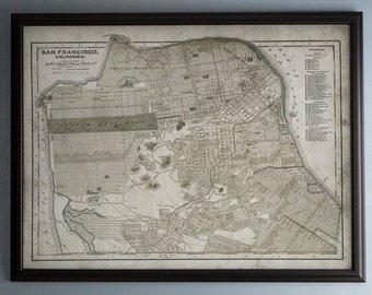 San Francisco Map - Unframed Vintage Map of San Francisco - Circa 19th C. - Weathered Map Reproduction