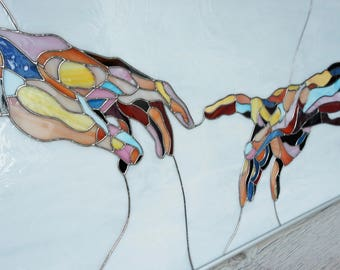 Stained Glass Picture Michelangelo Hands, Unique Gift, Glass Picture