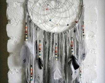 Grey dream catcher, large dreamcatcher, Native American decor, Aztec decor, Aztec bedroom, Aztec baby shower, Aztec nursery, Aztec playroom
