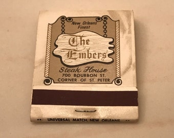 1970s Embers Steak House 20 Strike Matchbook Front Strike Bourbon Street Complete With Matches