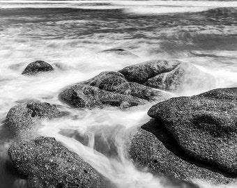 Beach Print Black and White Beach Water Coastal Photography Print Digital Download Landscape Seascape Canvas Print Fine Art Wall Print Wall