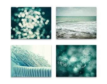 Bathroom print set, laundry room prints, bathroom home decor, teal mint wall art, powder room art, nature photography, set of 4 prints