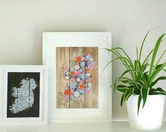 We are all wildflowers. A5, A4 and A3 signed digital print of hand painted wildflowers in an Ireland silhouette on reclaimed wood.