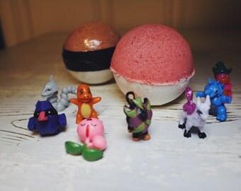 Pokeball POKEMON Bath Bombs! Each contains a Pokemon figure! Bath Fizzies - 4.7 oz each size XL