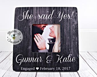 ON SALE Engagement Picture Frame, Engagement Gift, Bride To Be Gift, For The Future Mrs., She Said Yes, Gift For Newly Engaged Couple