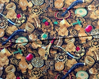 Buried Treasure Treasure Fabric - Gold - By Benartex - Sold by the 1/2 Yard