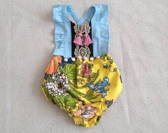 Boho Floral Flutter Tassel Romper Baby/Toddler