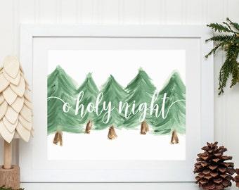Modern Farmhouse - O Holy Night - Christmas Watercolor Artwork Print