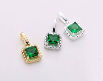 2PCS Sterling Silver Emerald Square Charm,Emerald pendant,May Birthstone Emerald Charm,Gold Vermeil Pendant Bezel Set Emerald Jewelry