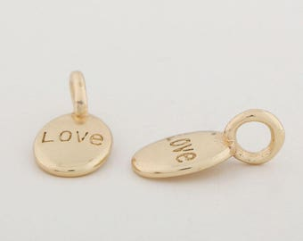 10pcs.24k Gold Plated Brass Charm, LOVE Charm, Round Charm, Circle Charm,Discs Charm, Stamp, Jewelry Marking, Pendants, Supplies for Jewelry