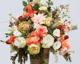 XL Silk Floral Arrangement, Luxury Arrangement, Table Centerpiece, Silk Floral Design, High End Silk Flower Arrangement, Home Decor, Florals