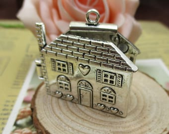 1Pcs 7×37×41mm House Charms Antique Silver Tone,Openable Locket-p1229-B