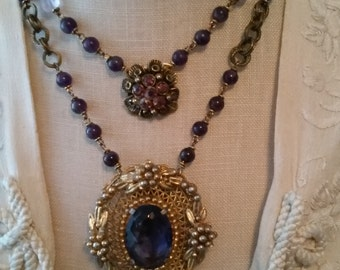 Amethyst Double Strand Vintage Necklace